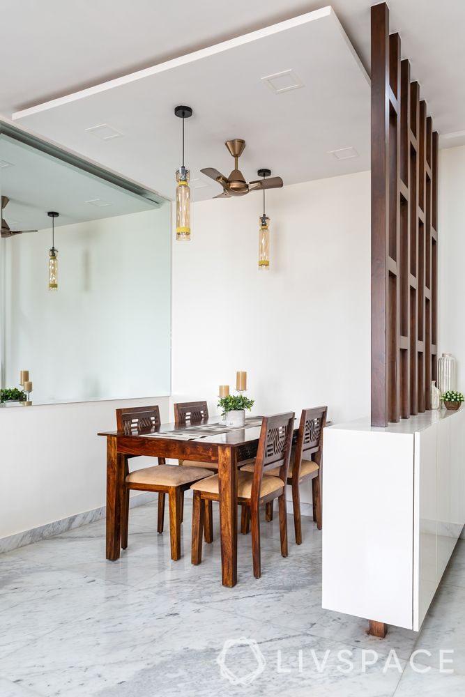 floating furniture-wooden partition-wooden dining table-pendant lamps