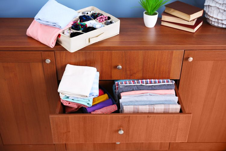 how to clean house-folded clothes-chest of drawers