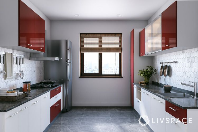 how to clean house-white cabinets-red tall cabinets-clean homekeeping