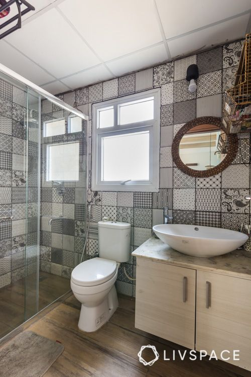 how to clean house-under sink-toilet-pattern tiles