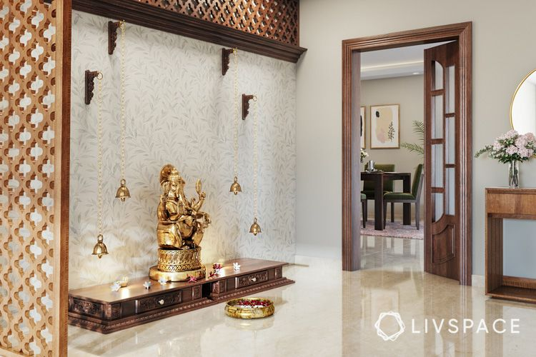 how to clean house-wooden jaali-pooja room-hanging lanterns-platform