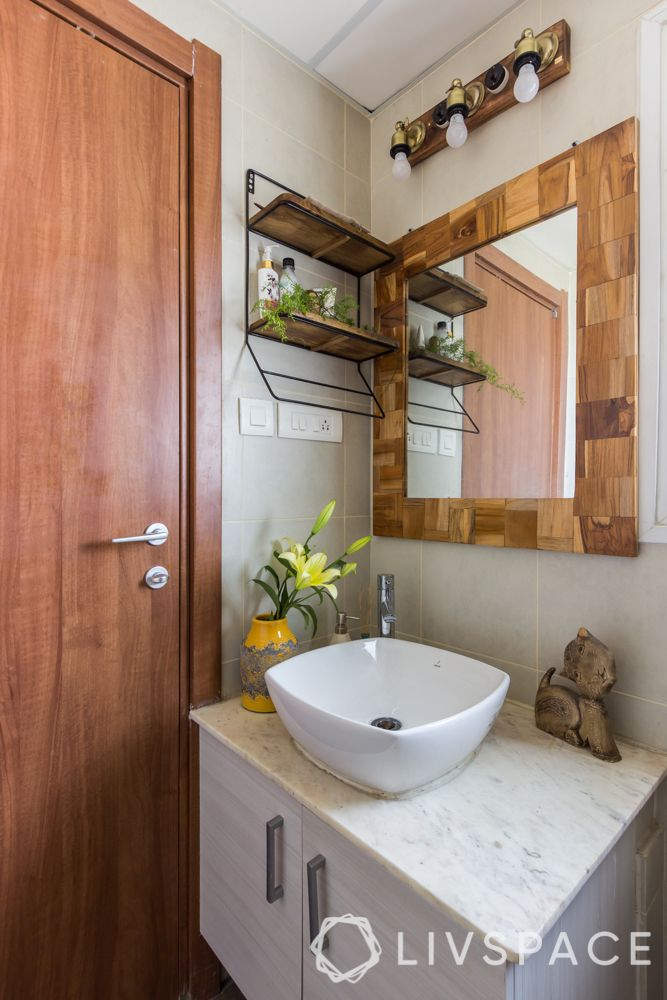 coronavirus prevention methods-bathroom-storage-sink-wooden shelf