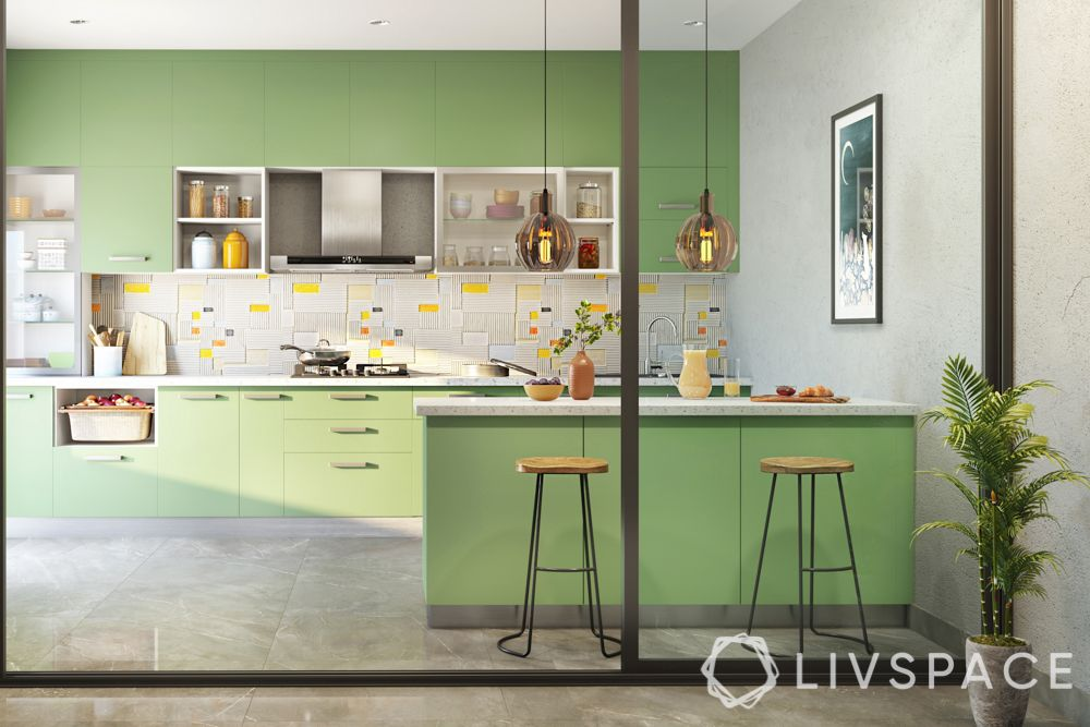 shruti-haasan-kitchen-mint-green-cabinets