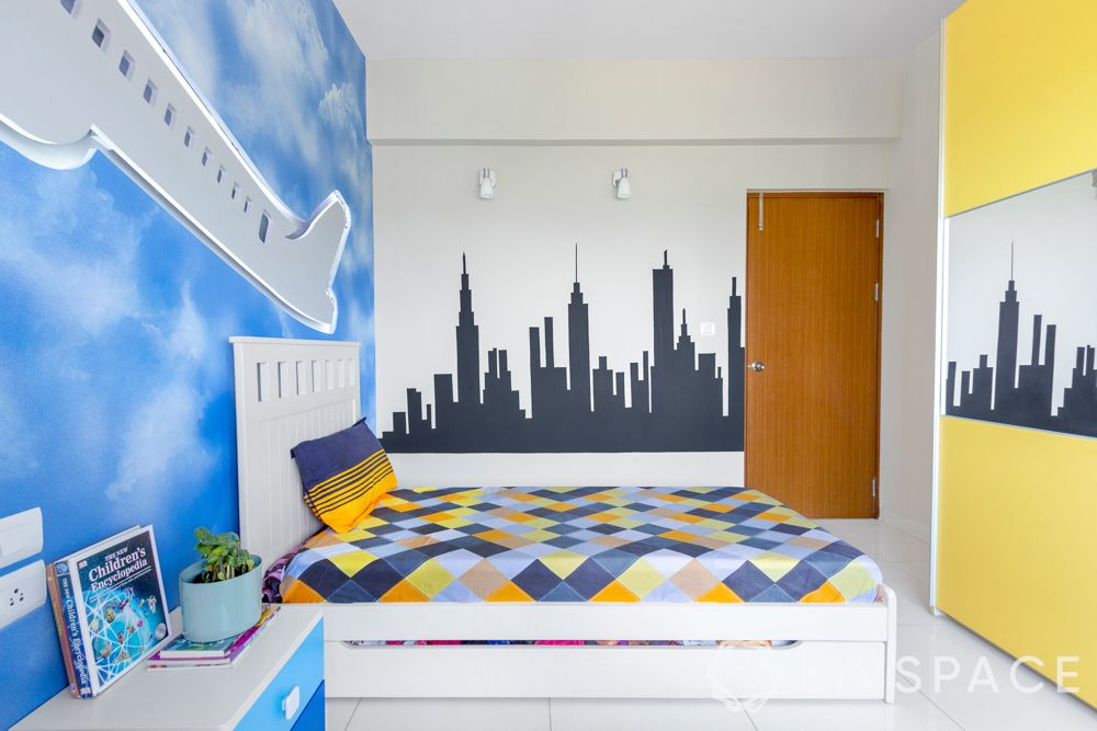 2bhk design-kids room-aeroplane mural-lighting ideas-manhattan silhouette