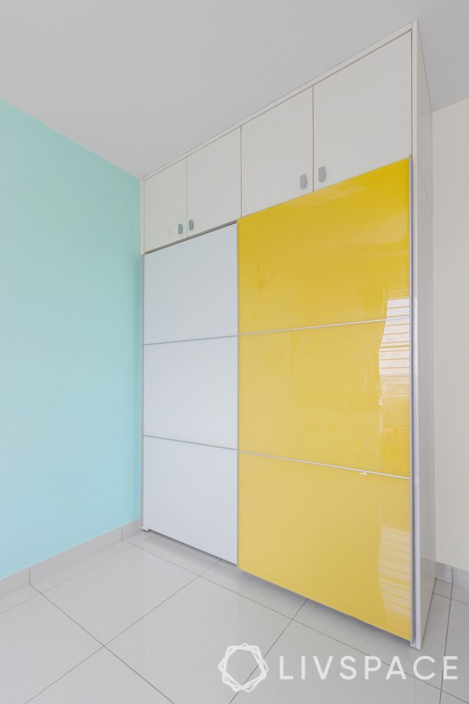 3 bhk flat interior images-lacquered glass wardrobe-yellow wardrobe