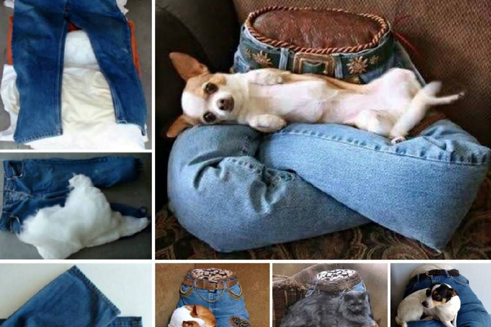 diy ideas for the home-jeans upcycle-pet bed