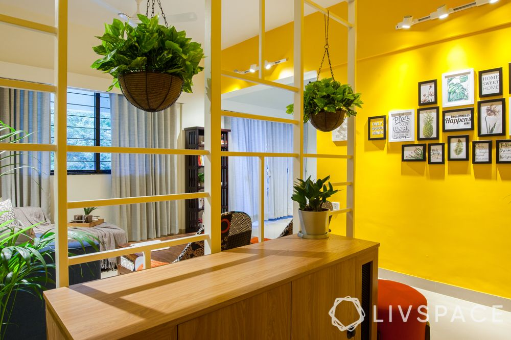 how to make a happy home-yellow wall-hanging plants