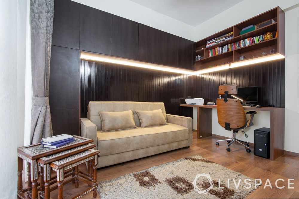 study room-sofa-cum-bed-wooden panelling-duco paint