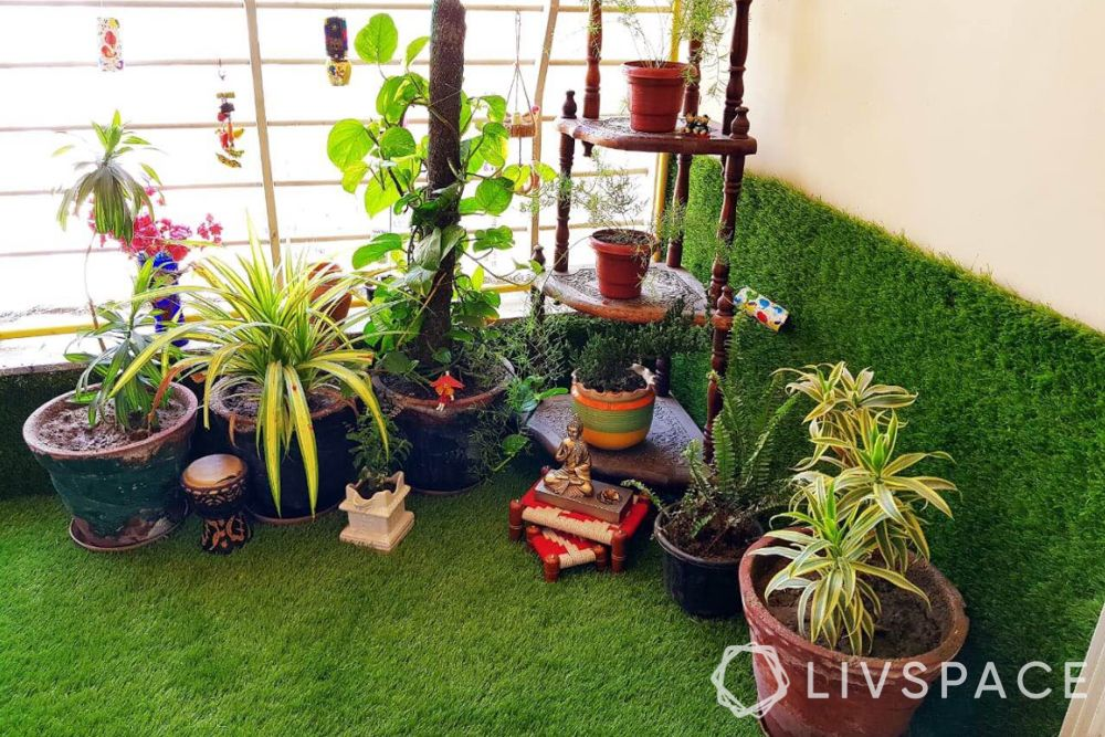 house balcony design-plant stand-turf-planters-home garden
