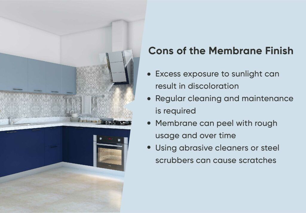 membrane finish-blue cabinets-tiles backsplash-membrane finish