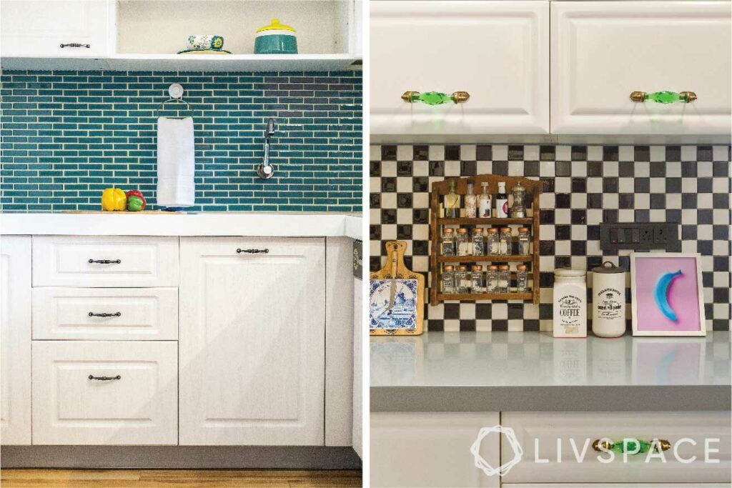 kitchen-materials-backsplash-blue-tiles-black-white-mosaic