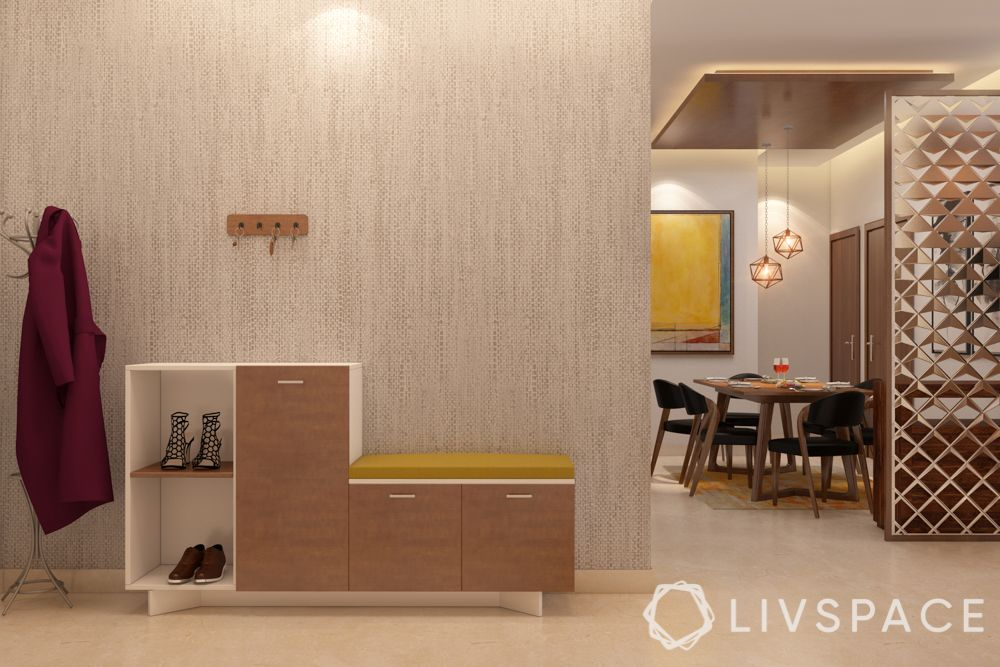 Foyer design-seating and show cabinet-coat rack-dining room