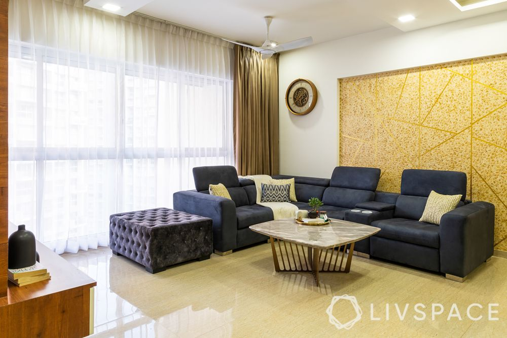 best interior designers in pune-living room-accent wall-sofa