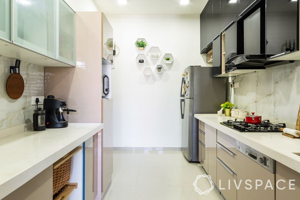 best interior designers in pune-kitchen-profile lighting-acrylic kitchen-frosted glass crockery unit-tall unit