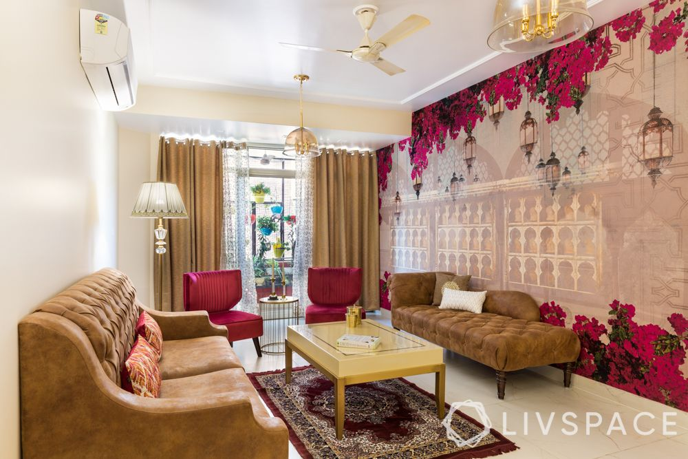 Living room-krsnaa mehta wallpaper-floor lamp-pendant lamp-tufted sofa-accent chair