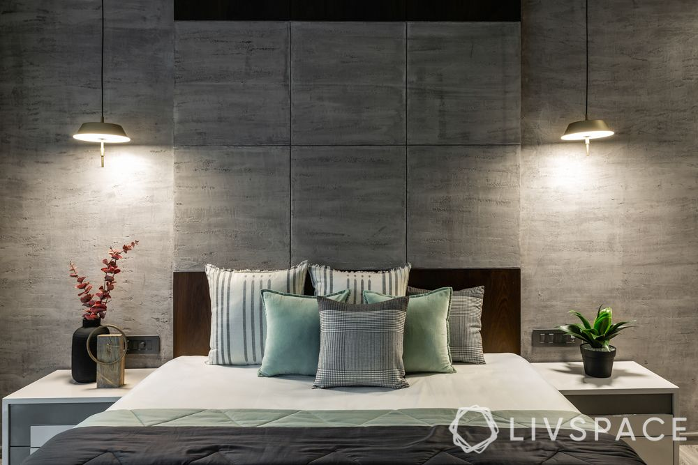 contemporary house-pendant lights-grey wall-side tables