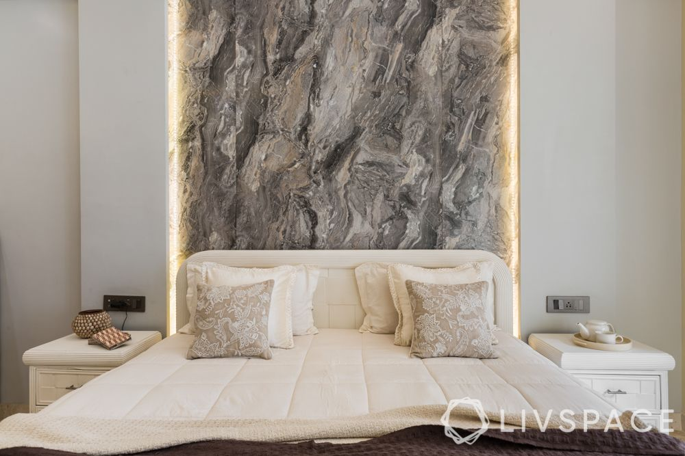 contemporary house-marble wallpaper-backlighting-neutral colors