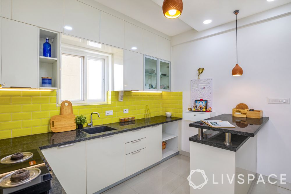 subway tiles-yellow backsplash-high gloss laminate cabinets