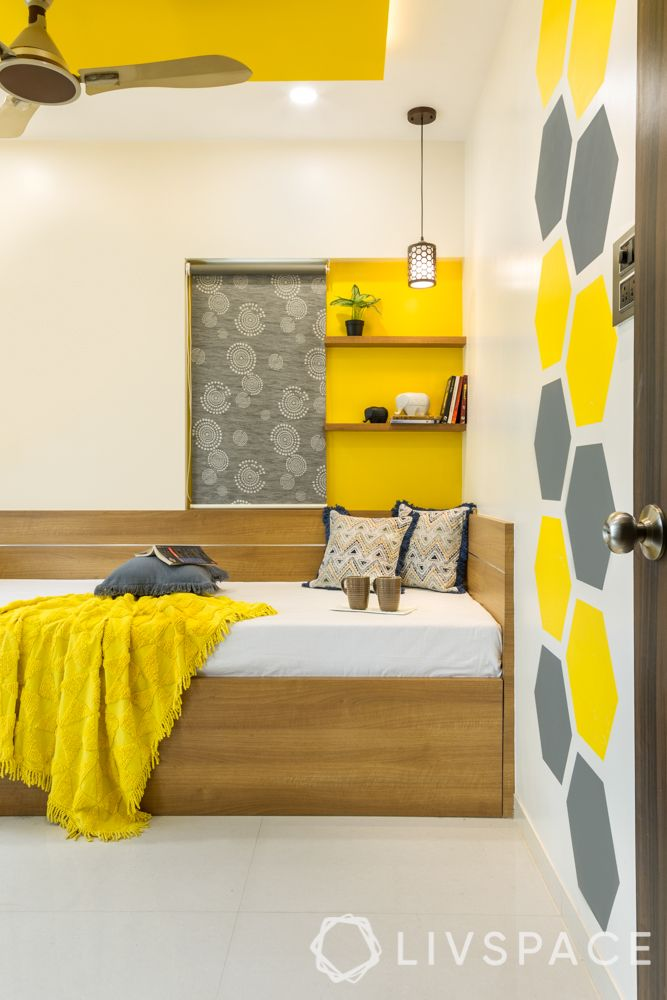Wood interior design-yellow room-trundle bed-wooden shelves