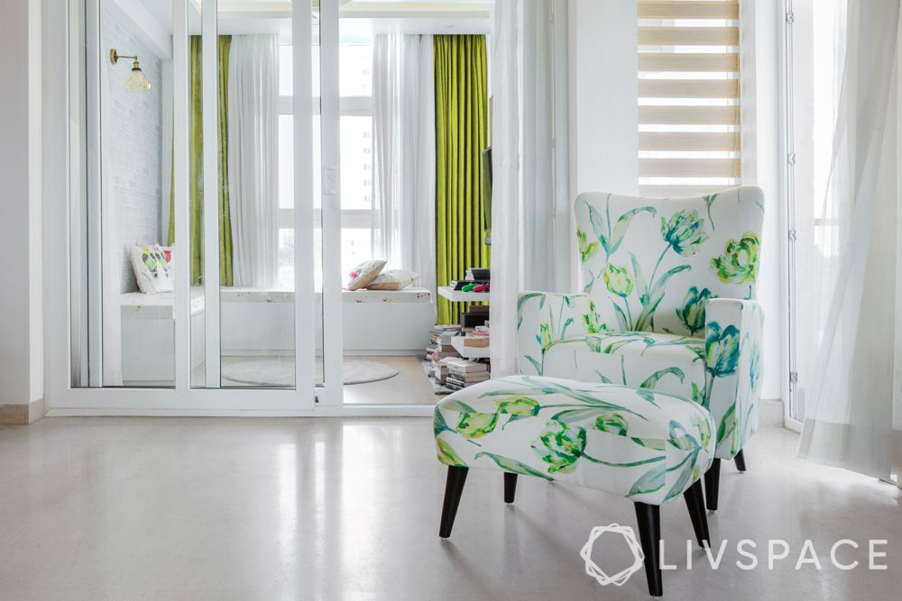 interior design home-white walls-floral accent chair