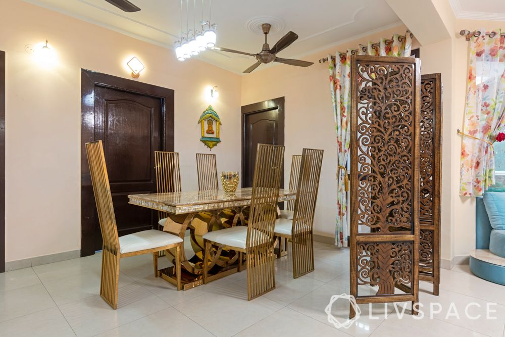 hall dining partition-collapsible jaali panel-wooden partition