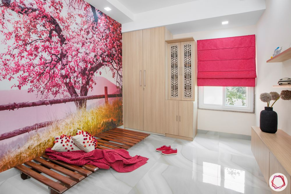 Interior design styles-cherry blossom wallpaper-wooden wardrobe