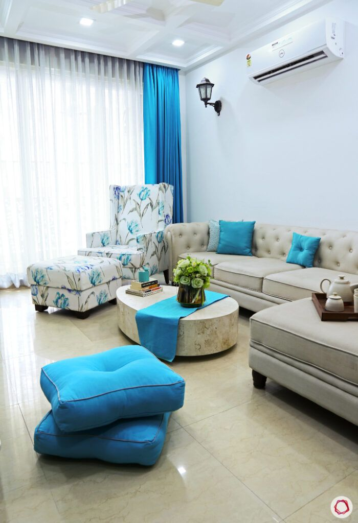 throw cushions-living room seating-floor seating ideas-blue cushions