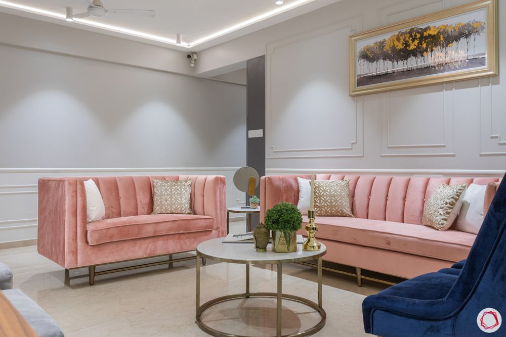 pink sofa designs-grey wall ideas