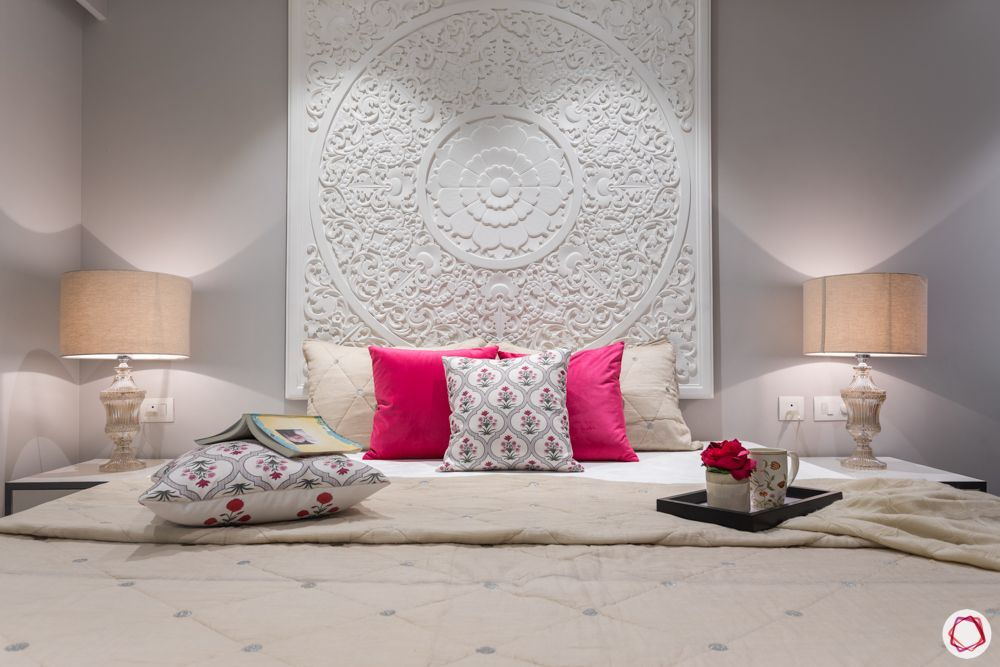 condo singapore-white wall panel designs-pink cushion designs
