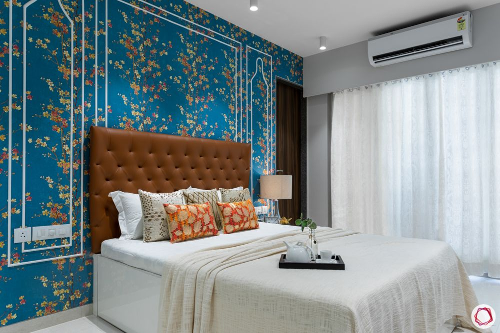 condo singapore-blue wallpaper designs-blue floral wallpaper