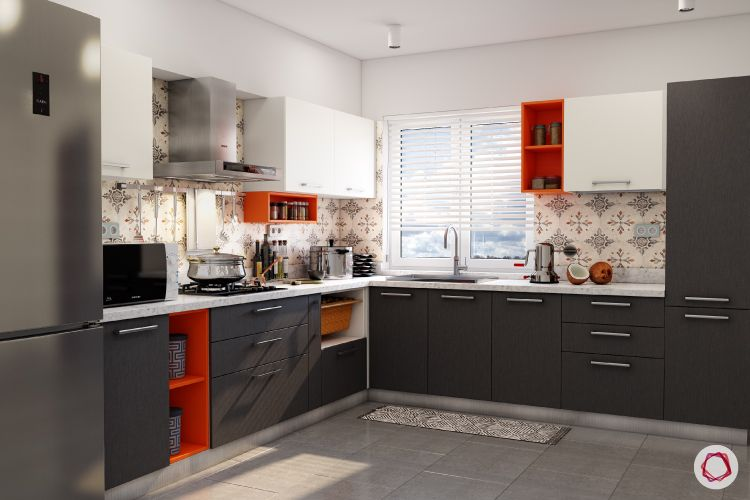 orange cabinet designs-grey cabinets