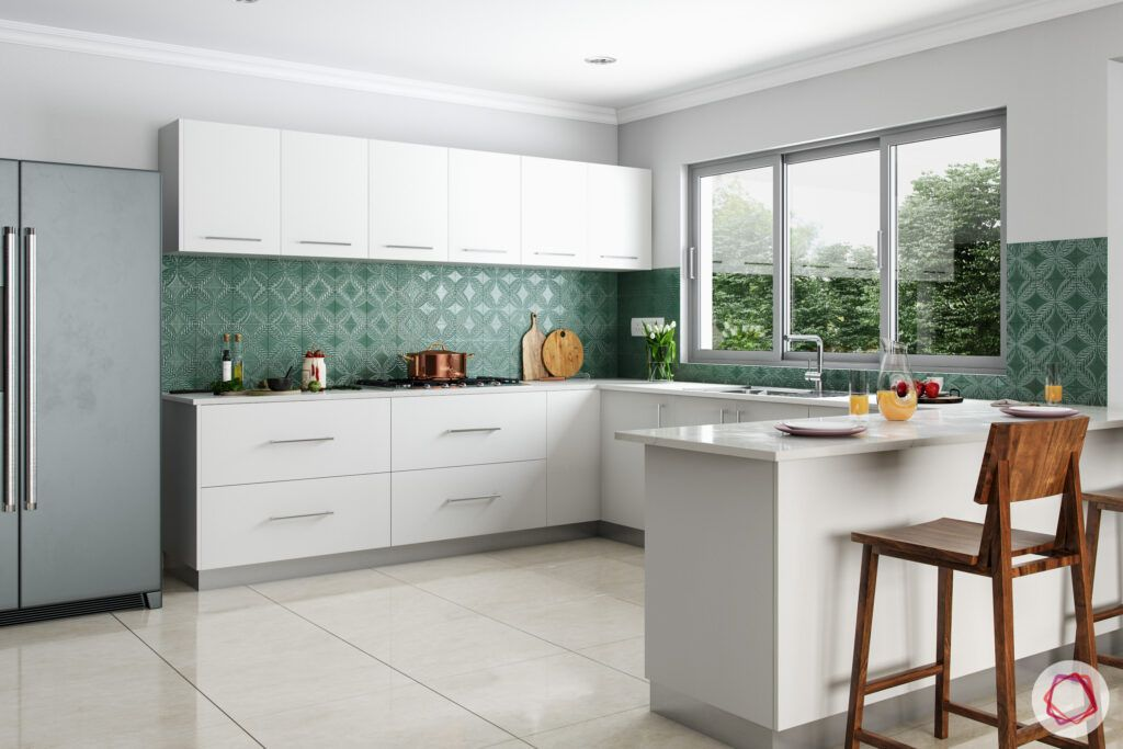 green and white kitchen designs-fridge-stove-acrylic cabinets
