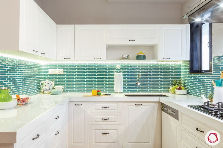 kitchen design singapore-white cabinets-blue backsplash-subway tiles
