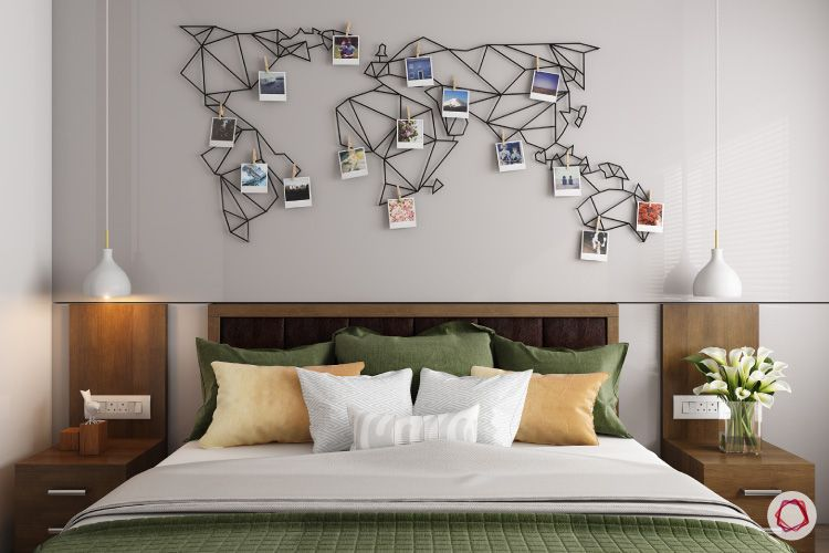 room-decor-world-map-wall-bed-sidetables-flowers