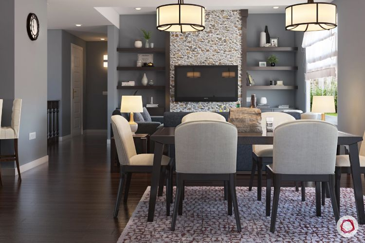 wall treatment ideas-stone wall-tv unit- neutral dining table designs