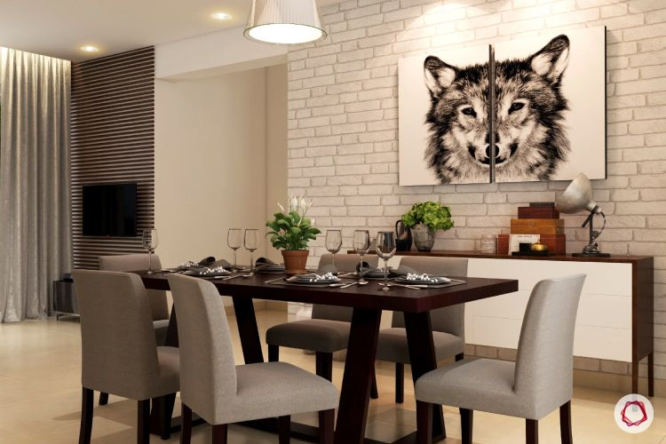 wall treatment ideas-wolf wall art-brick wall-dining table designs
