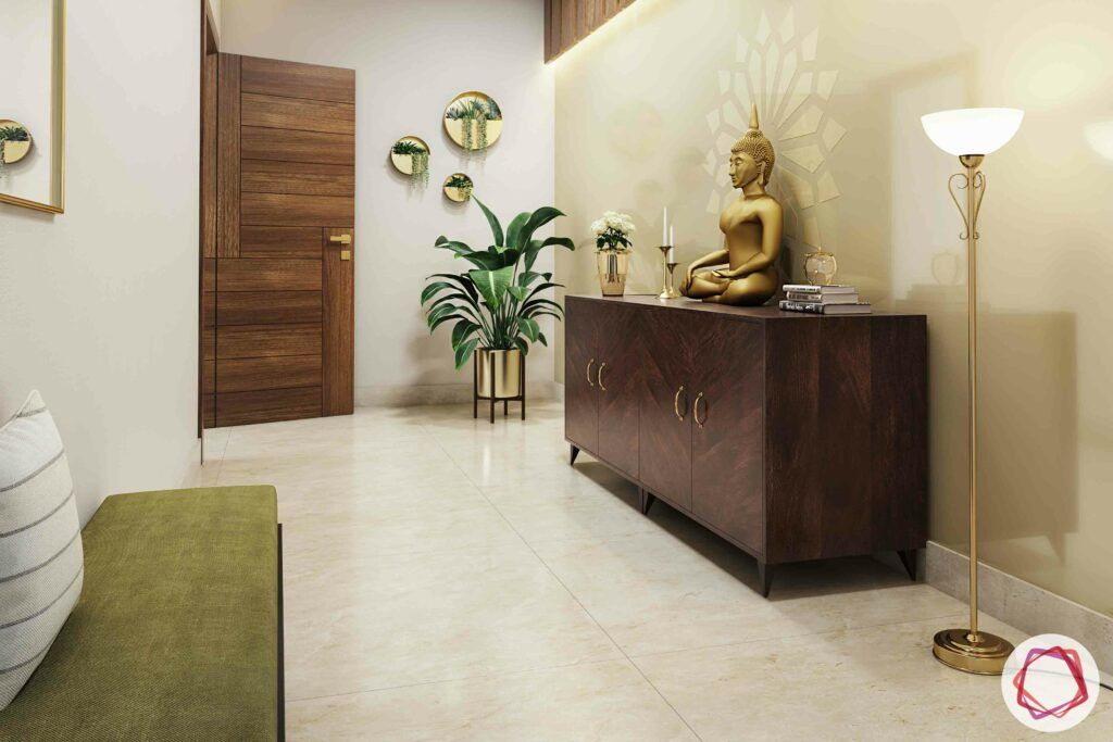 passage design ideas-wooden panel designs-buddha statue designs