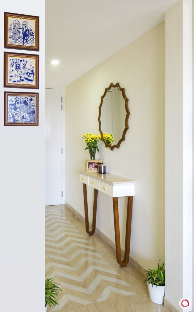 passage design ideas-console table designs-round mirror designs