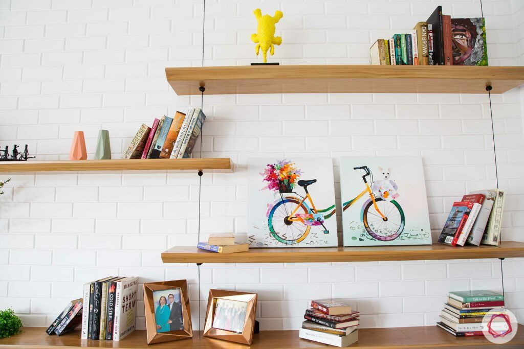 scandinavian interior design-wall shelves-wall art-bookshelves
