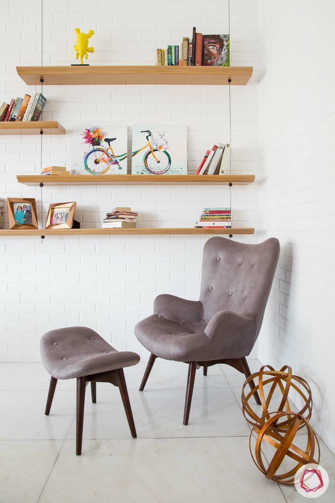 scandinavian interior design-wall shelves-corner chair
