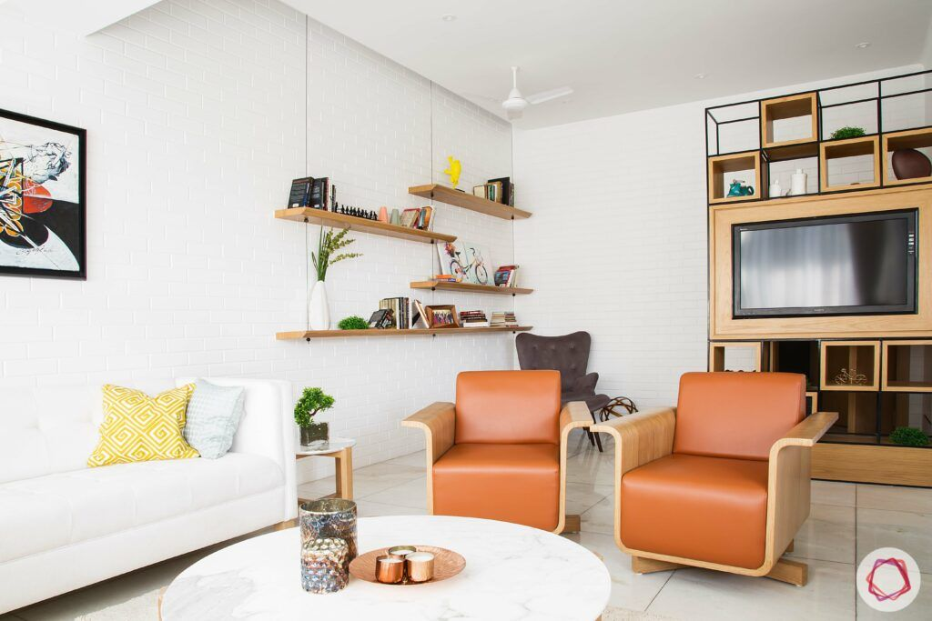 scandinavian interior design-wooden tv unit-wooden wall shelves-upholstered furniture