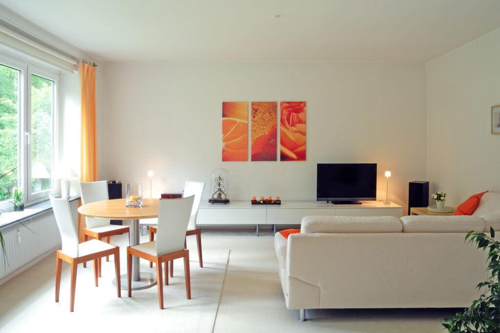 living room with pops of colour-installation and furnishing