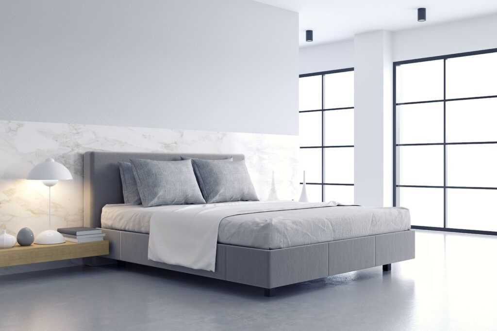 feng shui tips-minimalist interiors-bedroom design-grey colours