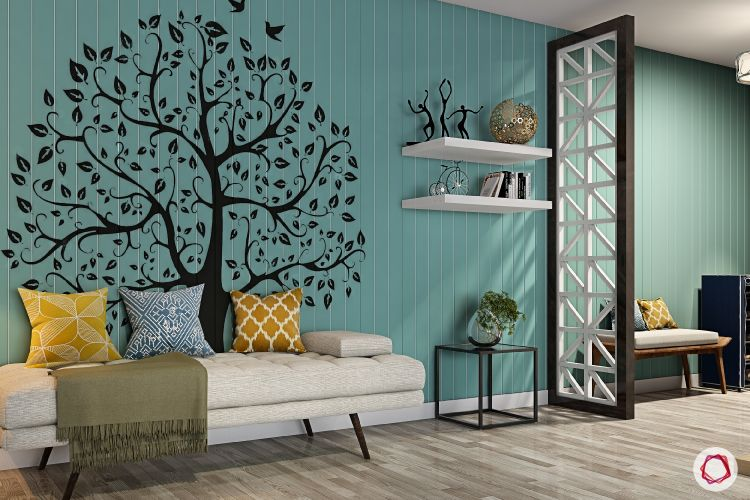 green wallpaper-wall art-bench designs-floating shelves
