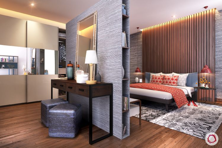 partition-vanity unit-bedroom-wooden wall designs-sliding wardrobes