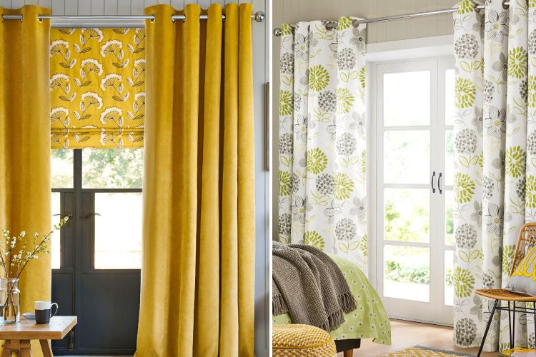 yellow blinds-white and green curtains-yellow curtains-balcony door