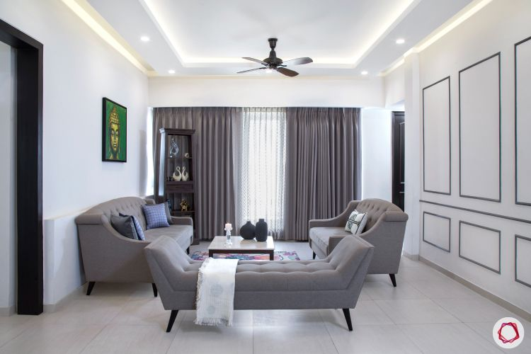grey sofa designs-wall trims-false ceiling-white walls