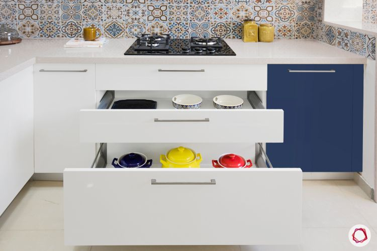 open kitchen design-base cabinets-moroccan backsplash-utensils-storage designs