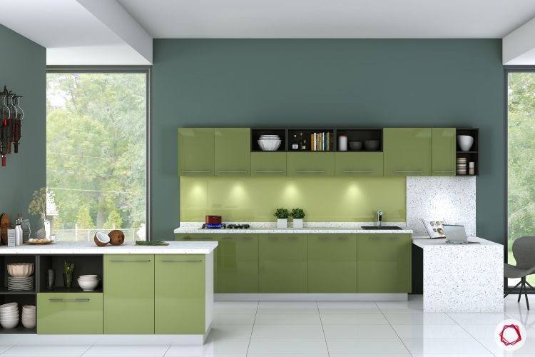 green cabinet designs-modular kitchen designs-breakfast counter-grey chairs