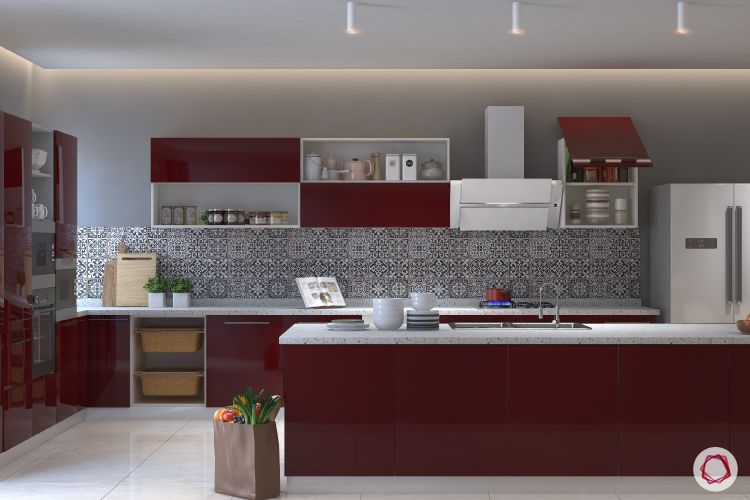 open kitchen design-red modular kitchen-baskets-golden triangle-patterned backsplash